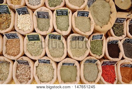spices for sell at the market in Italy