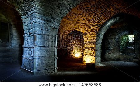 Fortress built from limestone. The old Maasi stone castle ruins. Orissaare Saaremaa Estonia Europe