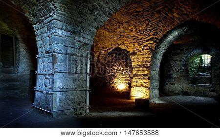 Fortress built from limestone. The old Maasi stone castle ruins. Orissaare Saaremaa Estonia Europe poster