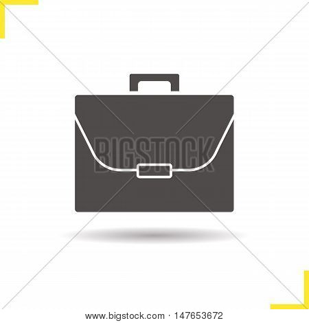 Briefcase icon. Drop shadow portfolio silhouette symbol. Negative space. Vector isolated illustration