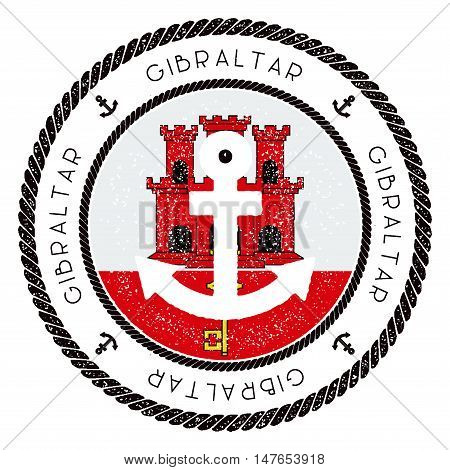 Nautical Travel Stamp With Gibraltar Flag And Anchor. Marine Rubber Stamp, With Round Rope Border An