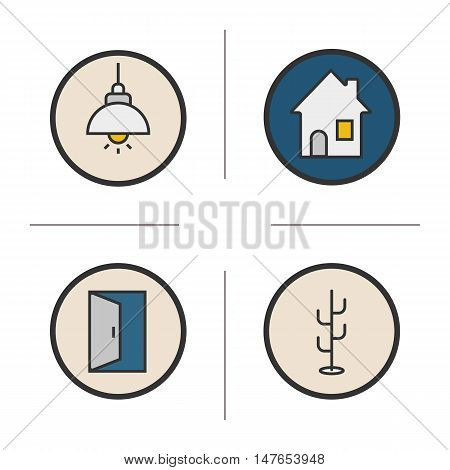 Home interior color icons set. Living room, hanger, open door, hanging ceiling lamp, house symbol. Isolated vector illustration