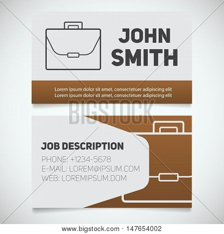 Business card print template with briefcase logo. Easy edit. Manager. Work management. Businessman. Advocate. Lawyer. Stationery design concept. Vector illustration