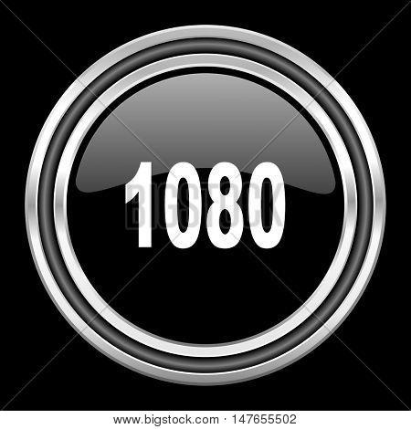1080 silver chrome metallic round web icon on black background
