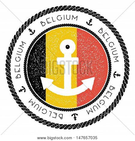 Nautical Travel Stamp With Belgium Flag And Anchor. Marine Rubber Stamp, With Round Rope Border And