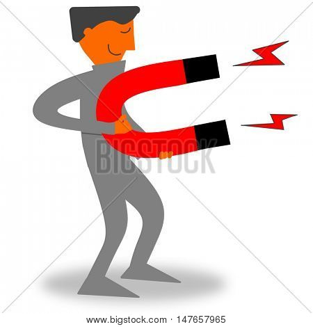 Businessman with powerful magnet