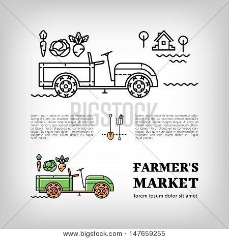 Farmers market logotype, Farm tractor icon in a thin line art style, Isolated vector tractor logo. Trailer tractor and vegetables, Farm machine or Walk-Behind Tractor