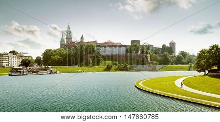 poster of Royal wawel castle in Krakow town, Poland