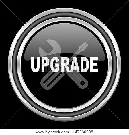 upgrade silver chrome metallic round web icon on black background