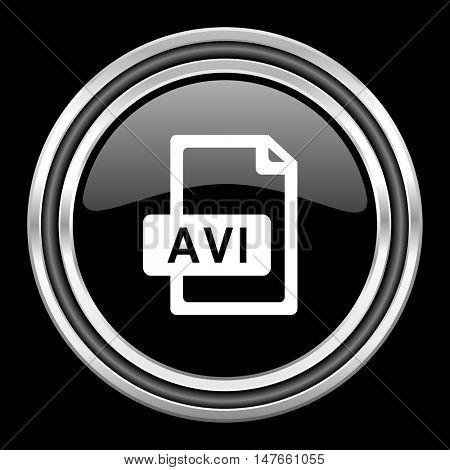 avi file silver chrome metallic round web icon on black background