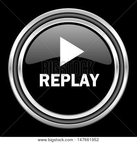 replay silver chrome metallic round web icon on black background