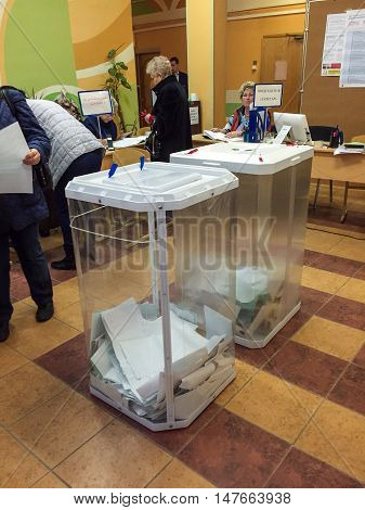 Moscow, Russia - September 18, 2016:  Two Ballot Boxes In The Elections Of Deputies Of The Duma.