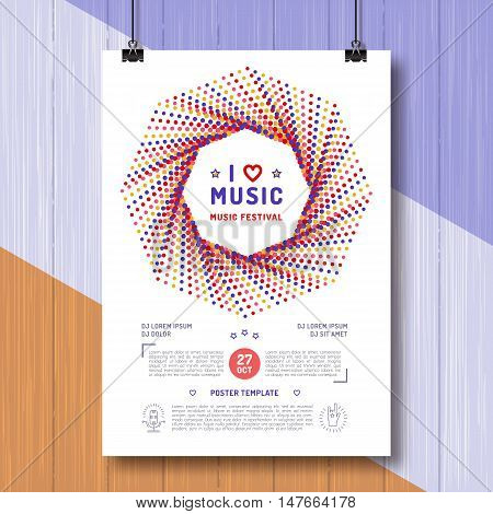 Vector Music Retro poster template A4 size, musical collage. Festival placard in a modern minimalist style. Minimal design of music banner or cover, Elegant brand identity for the music studio