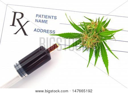 Medical cannabis and hash oil with prescription paper