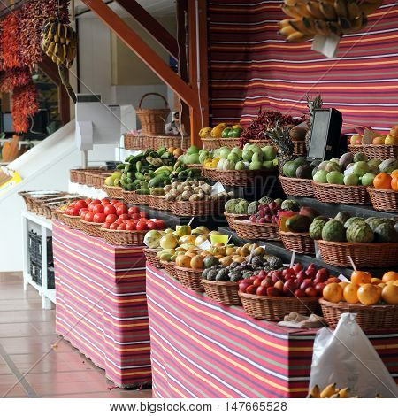 Fruit stall in the Farmers market in Funchal on the island of Madeira