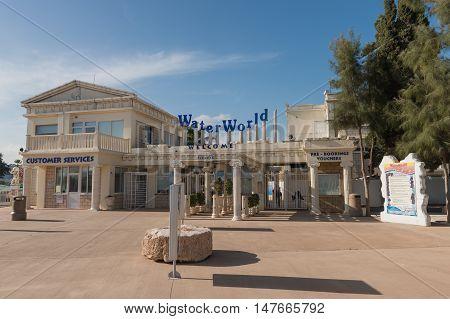May 29 2014: Photo of waterpark Water World in Aya Napa. Cyprus