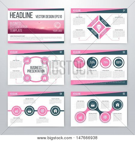 Infographics presentation template flat design. Cover brochure