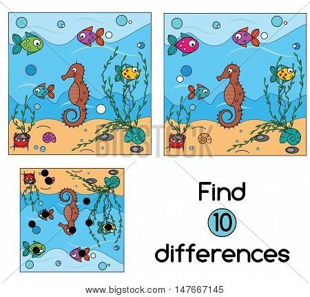 Find the differences educational children game with answer. Kids activity sheet, vector illustration