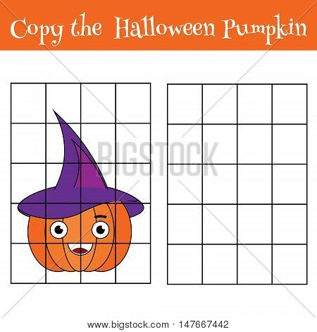 Copy the picture using a grid children educational drawing game. Printable drawing kids activity, worksheet. copy the haloween pumpkin. Vector.