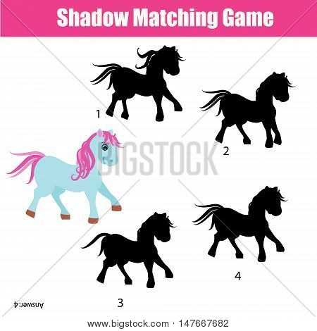 Shadow matching game for children. Find the right, correct shadow for cute pony task for kids preschool and school age. Printable worksheet, animals theme