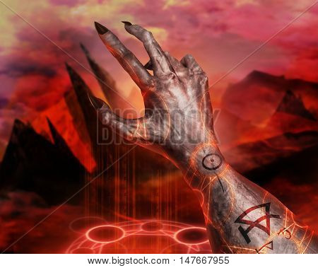 3D illustration of a first person view demonic hand magic. 3d first person view demonic hand with claws casting pentacle fire sign on a  hellish landscape background.