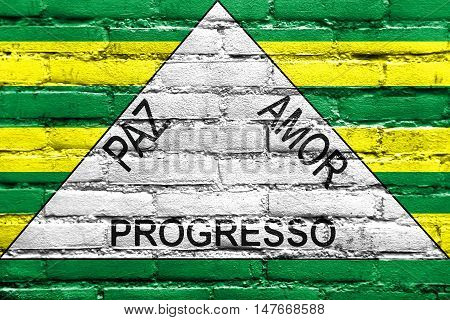 Flag Of Ferros, Minas Gerais State, Brazil, Painted On Brick Wall