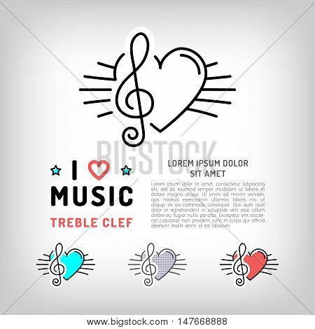 Treble clef isolated icon, Musical note and heart, the concept symbols of love for music. Vector logos in modern art thin line style, card template, poster or banner