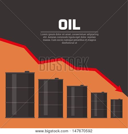 Tanks with oil and the schedule of fall. Concept of reduction of prices of oil. A vector illustration in flat style.