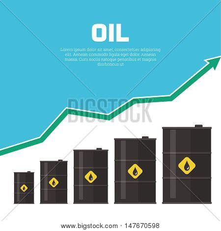 Tanks with oil and the schedule of growth. Concept of increase in prices for oil. A vector illustration in flat style.