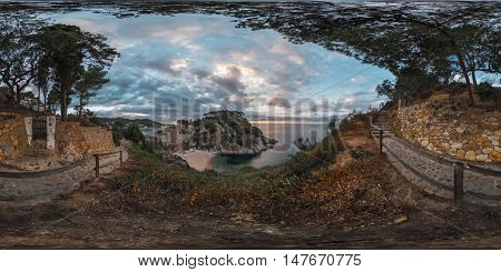 Spherical, 360 degrees, seamless panorama of the coast and fortress in the town of Tossa de Mar, Spain