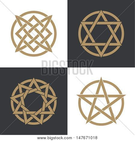 Set of the ancient symbols concluded in a circle. Stars and charms of people of the world. Concept of the universe and spiritual life. Esoteric signs of evolution of the person.Vector illustration.
