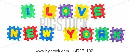 Message I Love New York from letters puzzle isolated on white background.