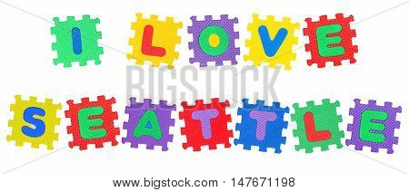 Message I Love Seattle from letters puzzle isolated on white background.