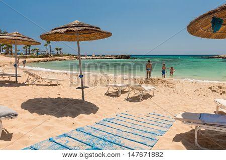 May 30 2014: Photo of beach. Aya Napa. Cyprus.