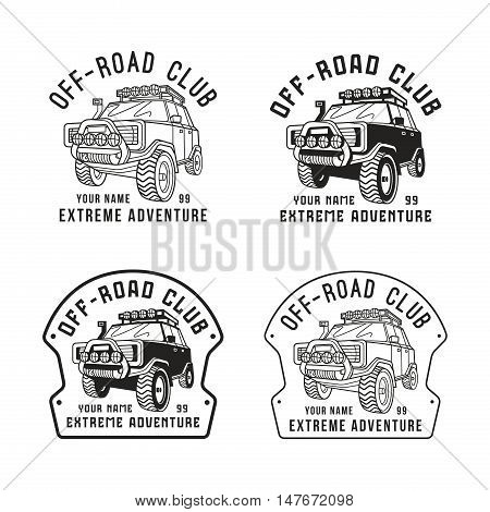 Stock vector off-road club emblem. Sticker design for your car. Black print on white background