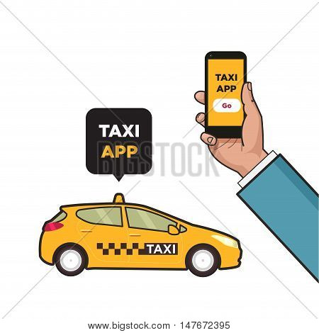 Taxi service app. Hand with smartphone and touchscreen. Taxi car and city skyscrapers. Vector flat illustration. Pop art style