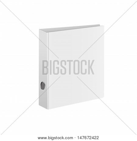 Blank closed office binder. White cover. Isometric view, on white background. Vector illustration.
