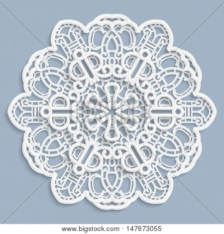 Lace 3D mandala round symmetrical openwork pattern lacy doily decorative snowflake arabic ornament indian ornament embossed pattern decorative design element vector