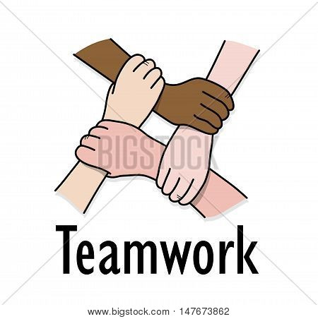 Business Teamwork Partnership. A hand drawn vector illustration of a business teamwork concept.