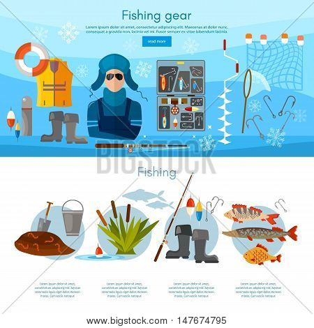 Winter fishing infographics fishing rod hooks bait fish worms vector flat illustration