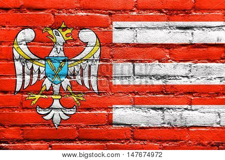 Flag Of Gniezno County, Poland, Painted On Brick Wall