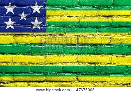 Flag Of Goias State, Brazil, Painted On Brick Wall