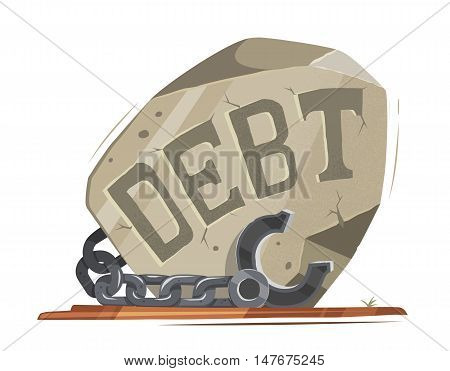 Debt vector illustration. Big heavy stone with steel chain and shackles fetters. Creative concept.