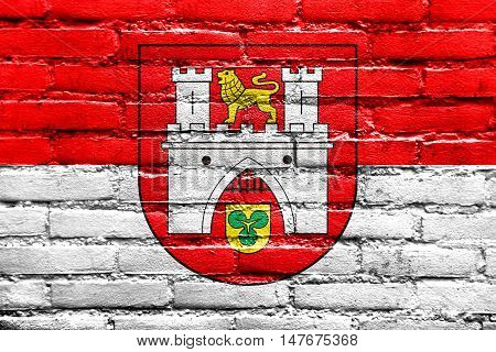 Flag Of Hanover, Germany, Painted On Brick Wall