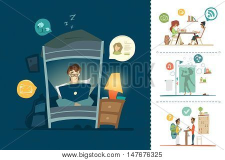 City hostel hotel flat color illustration set