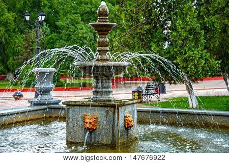 The ancient fountain in city park .