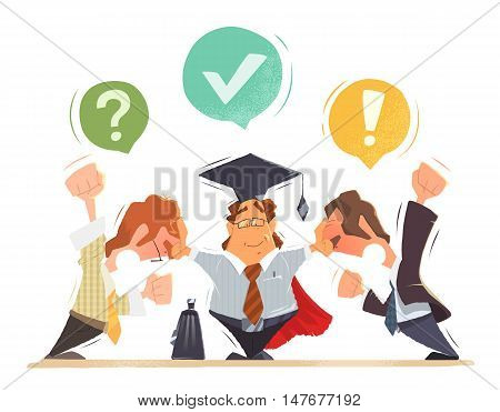 Lawyer trying to resolve conflict between two office people businessmens. Color vector character illustration.