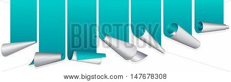 Turquoise ribbon with curled up edge. Vector illustration