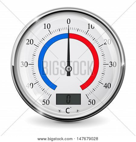 Thermometer. Outdoor temperature device. Celsius. Vector illustration isolated on white background