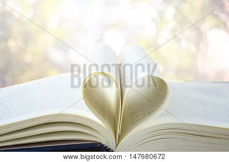 Heart from a book page vintage style close up heart shape from paper book with bokeh in soft light in morning (blur background) concept for valentine's day